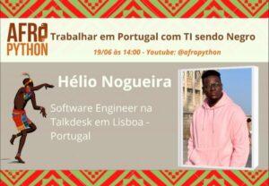 Cartaz de divulgação da palestra de Trabalhar em Portugal com TI sendo negro